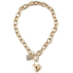 GUESS Kim Gold-Tone Heart-Lock Necklace ($24) ❤ liked on Polyvore featuring jewelry, necklaces, accessories, collares, bracelets, gold, rhinestone collar necklace, chain necklace, heart pendant necklace and heart pendant
