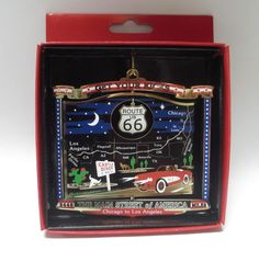 Route 66 Christmas ORNAMENT Brass Souvenir Gift Main Street of America Get Kicks Great Gift for any occasion!