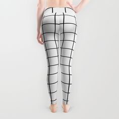 Geometric Black and White Grid Print Leggings by Poindexterity | Society6