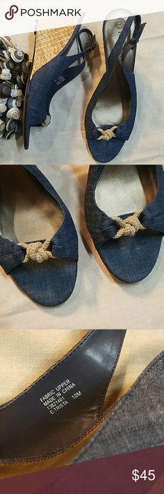Etienne Aigner knotted denim sandals Nautical feel wedges. Nearly new condition. Size 10. Etienne Aigner Shoes Sandals