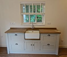 Details About Painted Free Standing Kitchen Belfast Sink Unit Housing  Drawer Unit