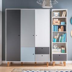 Vox Concept 3 Door Wardrobe In Grey & Blue - Vox Wardrobe Furniture, Wardrobe Design Bedroom, Kids Wardrobe, Storing Blankets, Cool Kids Bedrooms, Teenage Room, Hanging Rail, Kids Room Design, Modern Interior Design