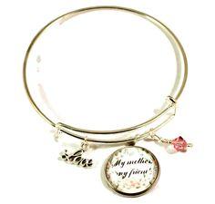 Bangle Bracelets With Charms, Handmade Bracelets, Handmade Jewelry, Bangles, Great Mothers Day Gifts, Mother Day Gifts, Mothers Friend, Love Charms, Adjustable Bracelet