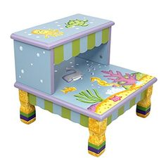 Kids' Stools - Fantasy Fields  Under The Sea Thematic Kids Wooden Step Stool with Storage  Imagination Inspiring Hand Crafted  Hand Painted Details  NonToxic Lead Free Waterbased Paint ** More info could be found at the image url.