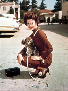 A poodle with her person, Natalie Wood ♡... Re-pin by StoneArtUSA.com ~ affordable custom pet memorials for everyone.