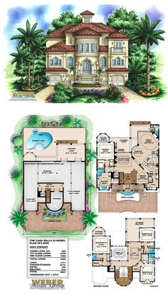 F3-4926 - Casa Bella II - Three story waterfront house plan with 4,926 square feet of living area. 4 bedrooms, 5 full baths, 1 half-bath, 4 car garage.