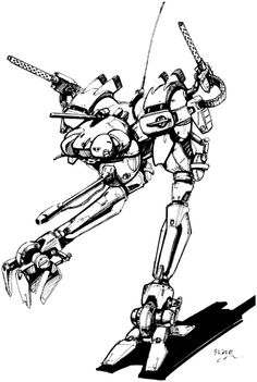 LCT - 1V Locust from the Japanese version of Battletech. Images created by Studio Nue (of Macross fame)