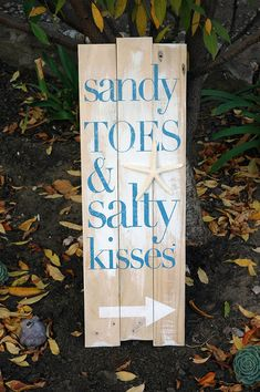 Beach Décor: Sandy Toes and Salty Kisses with Starfish, Hand Painted on Rustic Wood