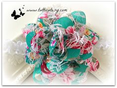 Turquoise Floral Flower Headband by tutticutesytutus on Etsy