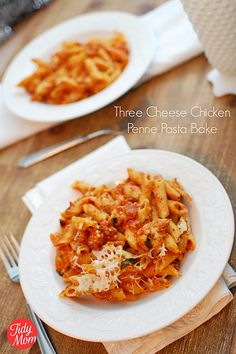 Low Cal Three Cheese Chicken Penne Bake: Multigrain pasta, chicken, spinach, and low fat cheeses are tossed with a tomato sauce and baked to bubbly perfection.  They will never know you're serving them a healthy pasta dish -  no chicken