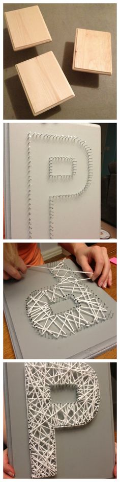 DIY string art, nail yarn project, P, craft Popular with the Poplins
