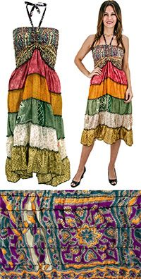 The Hunger Site- Recycled silk cinch dress (fair trade)