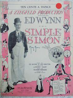 """1930 Sheet Music, """"Ten Cents A Dance"""" from Simple Simon, Ziegfeld Broadway Musical"""