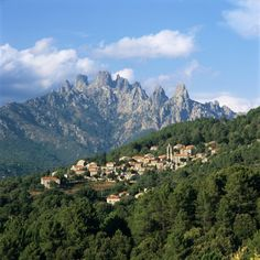 View over Village and Bavella Mountains, Zonza, South Corsica, Corsica, France, Europe