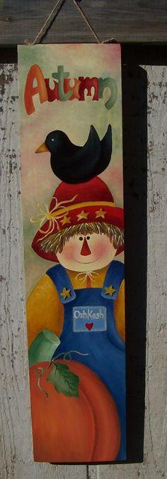 Autumn Scarecrow painted on a wooden board. Halloween Yard Art, Halloween Home Decor, Halloween Projects, Fall Halloween, Scarecrow Painting, Tole Painting, Painting On Wood, Autumn Crafts, Autumn Art