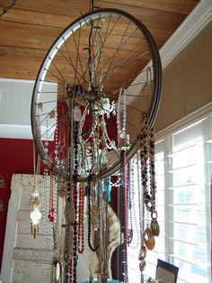 We are the music makers, And we are the dreamers of dreams, Wandering by lone sea-breakers, And. Gypsy Home Decor, Boho Decor, Jewellery Storage, Jewellery Display, The Dreamers, Bicycle Rims, Bicycle Wheel, Site Art, Hanging Necklaces