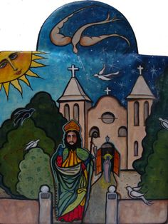 SOLD: San Albino / pigmented wood panel (retablo) by Virginia Maria Romero / Permanent collection of Basilica of San Albino, Mesilla, NM