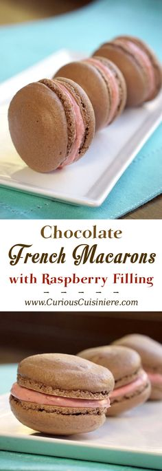 These Chocolate French Macarons combine a soft and fudgy macaron cookie with a raspberry filling for a perfectly delightful combo. | www.CuriousCuisiniere.com