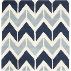 Safavieh Handmade Chatham Dark Blue/ Light Blue Wool Rug (5' Square)
