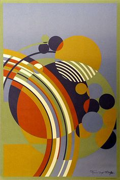 "Frank Lloyd Wright, carpet design, 1953 it had its origins in Wright adapted the design for the carpet from one of a series of 12 abstracts he created for the covers of Liberty Magazine in entitled ""March Balloons"" Arte Madi, Motif Art Deco, Geometric Shapes, Art Nouveau, Modern Art, Street Art, Abstract Art, Painting, Quilts"
