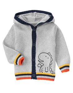 Hooded T-Rex Sweater Cardigan at Gymboree