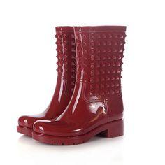2015 Hot sale rivets women rainboots waterproof mid-calf boots PVC women rain shoes botas de agua wellies YX007