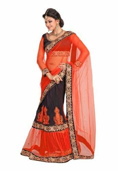 Fabdeal Indian Designer Net & Velvet Orange Embroidered Saree Fabdeal, http://www.amazon.de/dp/B00INWPY3K/ref=cm_sw_r_pi_dp_xp8otb0922F3P