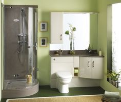 upstairs bathroom colors   light green: walls  gray: countertops  white : cabinets