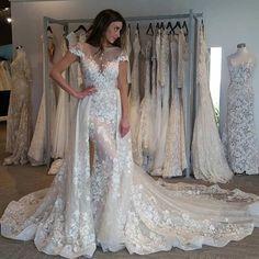 Dramatic Mermaid Wedding Dress - Bateau Short Sleeves Detachable Train