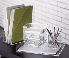 Clear Acrylic Desk Accessories // CB2 // simplyspaced.com // Office Organizing + Design