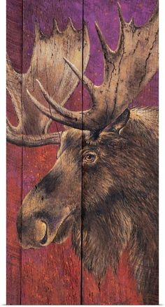 Moose Poster, Prints, Paintings & Wall Art for Sale Moose Pictures, Moose Decor, Arte Country, Wildlife Art, Animal Paintings, Painting Inspiration, Painting On Wood, Pet Birds, Wood Art