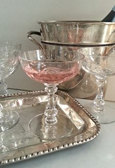Vintage Glasses Champagne Coupes 5 Etched  by HingeModernVintage, $30.00