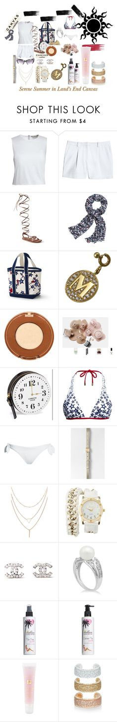 """""""Paint Your Look With Canvas by Lands' End: Contest Entry"""" by michelle858 ❤ liked on Polyvore featuring Canvas by Lands' End, Lands' End, Pasquale Bruni, Kate Spade, Charlotte Russe, Chanel, Million Dollar Tan, Lancôme and New Look"""