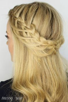 "Waterfall + French braid  ""Cascading waterfall braid""  https://www.youtube.com/watch?v=oa_xVfNX0bs&index=7&list=PLUPbRiX17OmF7wfqUOSRMM4So2eP1UUPc"