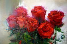 """Купить Розы Картина маслом на холсте """"Букет алых роз"""" - ярко-красный, алый, зеленый"""