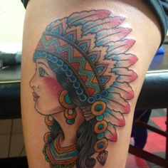 My first traditional tattoo n the beginning of a thigh sleeve