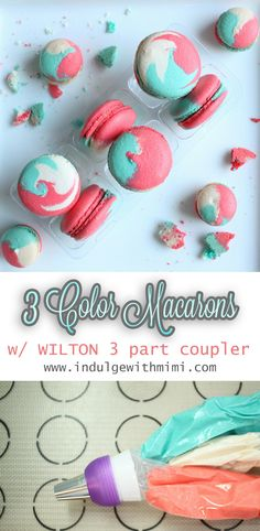 Tri-color macarons tutorial with video!