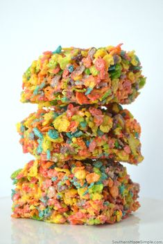These Fruity Pebble Marshmallow Treats are a sweet dessert to indulge in, and they are perfect for kids to grab and go during the busy back to school season!  #Fruitypebbles #ricekrispies #backtoschoolsnacks Sweet Desserts, Dessert Recipes, Fruity Pebble, Marshmallow Treats, Mama Recipe, Recipe Steps, Most Popular Recipes, Lunch Snacks, Southern Recipes