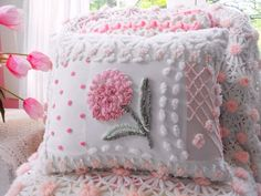 Beautiful newly made vintage chenille patchwork pillow made from only the best vintage chenille bedspreads in shades of pink, green and white with a Chenille Crafts, Chenille Bedspread, Chenille Fabric, Shabby Chic Pillows, Shabby Chic Decor, Pink Geranium, Decoration Bedroom, Patchwork Pillow, Sewing Pillows