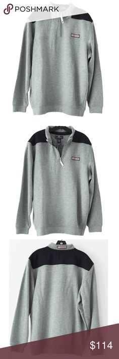 """Vineyard Vines Heather Gray Whale Line Shep Shirt Vineyard Vines Heather Gray Whale Line Shep Shirt Details: Size: XL, Color: Heather Gray, Navy Blue Shoulders and upper back panel, Partial Zip with Vineyard Vines Signature Whale on Zipper Pull Signature Vineyard Vines logo at left chest, Vineyard Vines logo at back of collar Knit sleeve cuffs and waist Approximate Measurements taken flat across coat Shoulder to shoulder: 20.5"""" Underarm to underarm (chest): 27"""" Length (measured on back side…"""