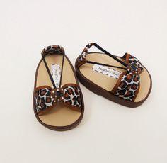 american girl doll shoes leopard bow sandals black by MegOrisDolls, $9.00