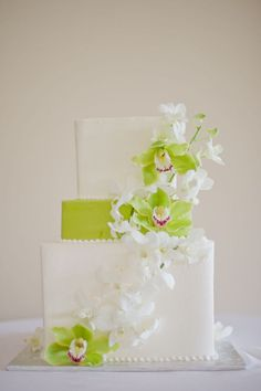 See more about orchid cake, wedding cakes and lime green. Square Wedding Cakes, Square Cakes, Wedding Cake Designs, Orchid Wedding Cake, Orchid Cake, Cake Wedding, Wedding Mc, Wedding Ideas, Wedding Gowns