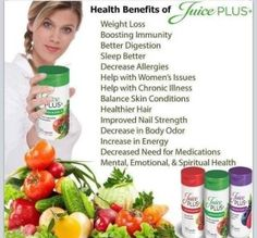 Just some of the benefits that come from eating and drinking a balanced diet. Give your self a head start like I've done with juice plus. All natural and packed with all you need everyday http://www.juiceplus.com/+nh87331