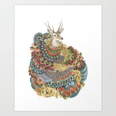 Quilted Forest: The Deer Art Print by Jess Polanshek - $20.00