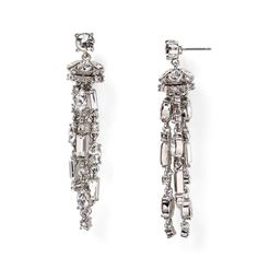 """kate spade evening affair chandelier earrings Crystal-studded fringe swings from glamorous tassel earrings gleaming with facets and metallic shine. 2 1/2"""" drop; 1/2"""" width. Post back. Rhodium plate/glass. 100% authentic. Considered as my wedding earrings but decided to go in a different direction; my loss is your gain! Truly stunning! kate spade Jewelry Earrings"""