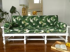 Banana Leaf custom couch - Autumn Hawk