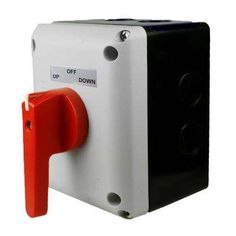 This motor reversing switch kit is designed to control 5 HP motors VAC) to 10 HP motors VAC). The kit comes with switch, enclosure, red handle and labels. This kit is design as a boat lift switch, but can be used as a motor reversing switch. Electrical Panel Wiring, Suitcase Record Player, Power Motors, Boat Lift, Electronic Recycling, Recycling Programs, Handle, Kit, Garden Tools