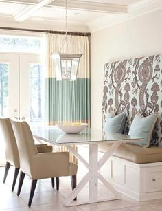 Fresh & Light DIning Area - soft shades of robin-egg-blues and browns, well balanced patterns, nice idea to have cushioned, fabric covered board as back rest & wall display