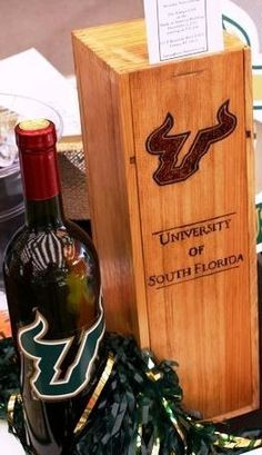Sports Fan Wine Box  college or professional by MaeFa013 on Etsy, $25.00
