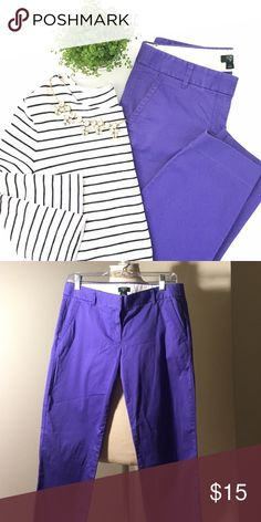 Purple j.crew city fit pants Cropped city fit pants from j.crew in cute purple color! Fit is relaxed through the hips and cropped in length. J. Crew Pants Trousers